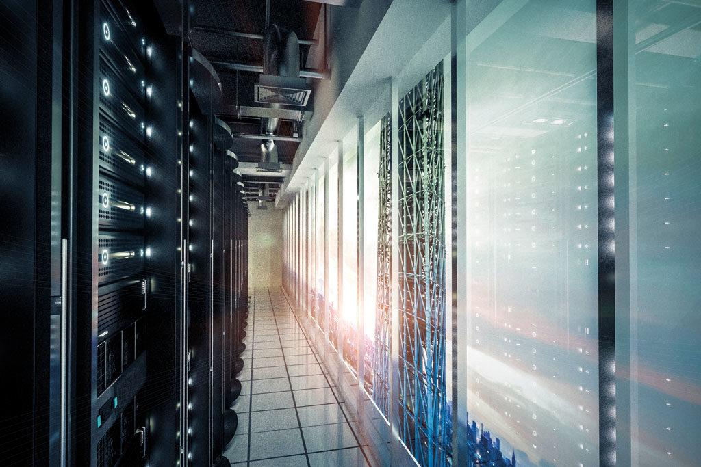 Serverraum mit Lichtern und Lüftung