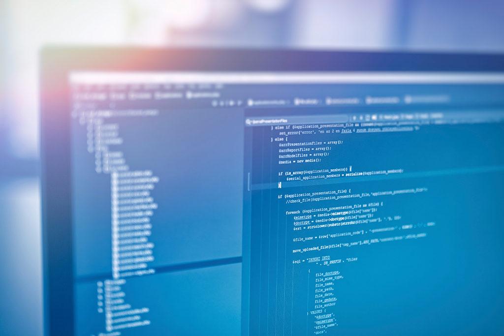 Bildschirm mit Programm für HTML