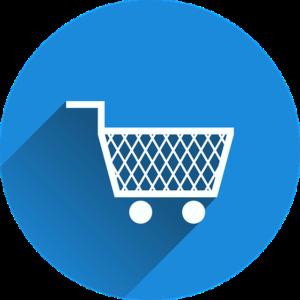 Einkaufswagen im blauen Kreis Icon