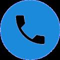 Icon mit Telefonhörer in blauem Kreis