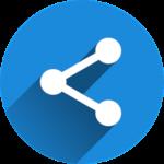 Icon mit verbundenen Punkten auf blauem Kreis