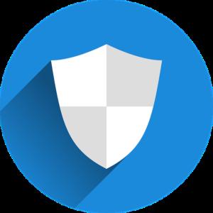Schutzschild im blauen Kreis Icon