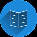 Icon mit Adressbuch in blauem Kreis