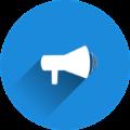 Icon mit Lautsprecher in blauem Kreis