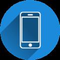 Icon mit Smartphone in blauem Kreis