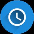 Rundes Icon mit Uhr in blauem Kreis