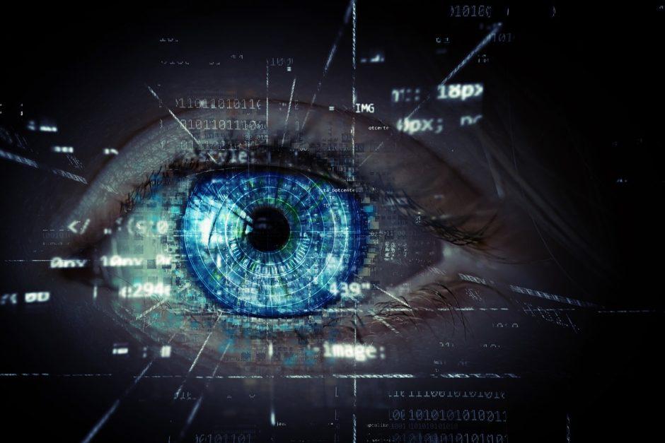 Blaues Auge mit Codes und Pixelangaben
