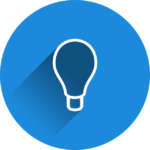 Glühbirne im blauen Kreis Icon