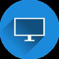 Rundes blaues Icon mit Computerbildschirm