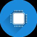 Rundes blaues Icon mit Prozessor